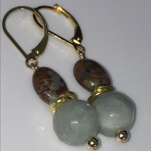 14/24k Gold Faceted Aquamarine & Opal Earrings
